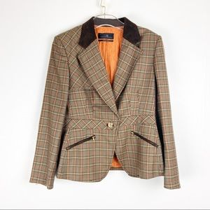 Carolina Herrera Wool Brown Plaid Button Blazer